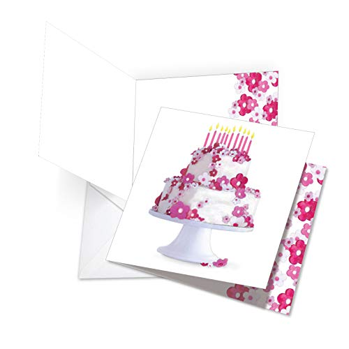 Flower Cake - Womens Happy Birthday Greeting Card with Envelope (Extra Large 8.25 x 9.75 Inch) - Pink and Purple Floral Bday Cake, Colorful Greeting Card for Girls, Wife - Birthday Notecard JQ5064BDG