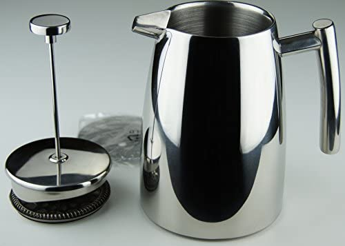 Elegant French Coffee Press Stainless Steel Insulated Double Wall with Spare Screen 8 cup 1 Liter 34oz