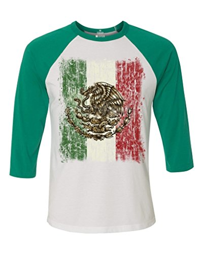 Shop4Ever Mexico Flag Baseball Shirt Cinco de Mayo Raglan ShirtSmall White/Kelly13615 -