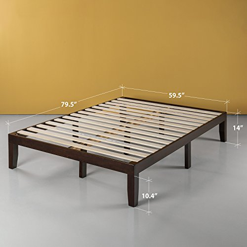 Zinus 14 Inch Wood Platform Bed / No Box Spring Needed / Wood Slat Support / Dark Brown, Queen