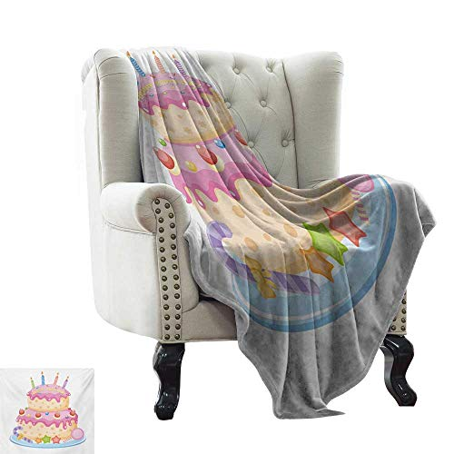 Cheap LsWOW Weighted Blanket Kids Birthday Pastel Colored Birthday Party Cake with Candles and Candies Celebration Image Pale Pink Cozy and Durable Fabric-Machine Washable 30