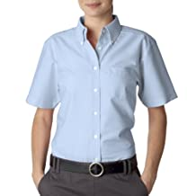 Ladies' Classic Wrinkle-Resistant Short-Sleeve Oxford LIGHT BLUE L