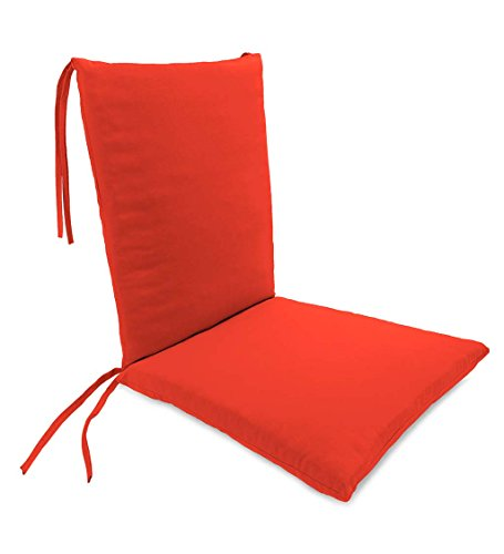 Classic Polyester Outdoor Rocking Chair Cushion with Ties, Seat Cushion 21''W Front/17''W Back x 19''D; Back Cushion 16''W x 20''L - Coral