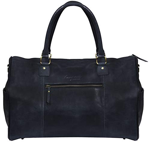 Hampton Unisex Weekender Real Leather Carry On Gym Travel Bag Satchel Vintage Retro - Black