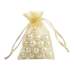 Ling\'s moment 4x6 Inch Sheer Organza Gift Candy Bags (100, Gold)
