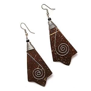 Pendientes hechos a mano de Idin-Con gota de madera marrón de coco con cable en espiral (longitud: 7,5cm)