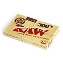 RAW 300's Natural Unrefined Organic Hemp 1 1/4 (1.25) size Rolling paper - 300 pack
