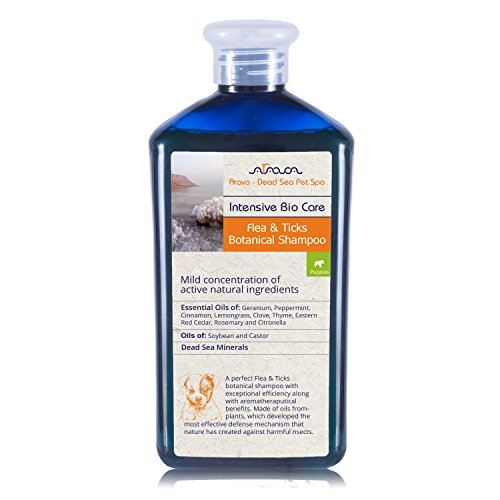 Arava Flea & Tick Control Dog & Puppy Shampoo, Pet Parasite Repellence & Prevention, Safe for Babies, Gently Scented Botanical Dead Sea Formula, 100% Natural Ingredients. 13.5 fl oz (2 Variations) (Purely Solution Botanical Natural)