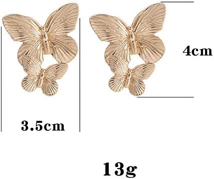 fxmimior Bohemian Dainty Gold Big Butterfly Earrings Big Dainty Gold Drop Earrings Statement Charm Earring Body Jewelry for Women and Girls