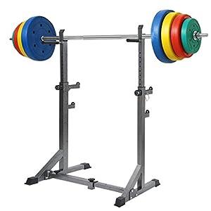 "Dumbbell Squat Racks, Adjustable 50.4 ""-63"" Barbell Rack Weight Lifting Bench Press Squat Rack Pull Up Bar Stands, Home Portable Dumbbell Racks Stands Indoor Fitness Lifting Frame (Black)"