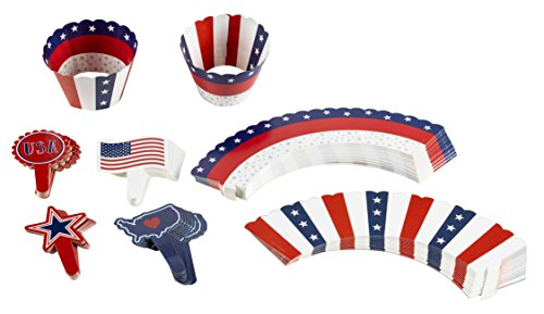 102-Piece Patriotic Cupcake Toppers and Liners - American Flag Cupcake Wrappers Baking Supplies, Patriotic Party Favors for Cake and Muffin Decorations, Red, White, (American Classic Sticks)