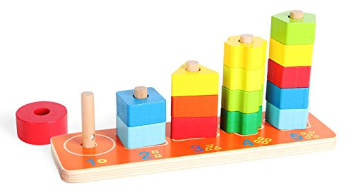 (Geometric Shape Sorter, Wooden Stacking Shape Puzzle with Sorting Board for Preschool Educational Toddlers)