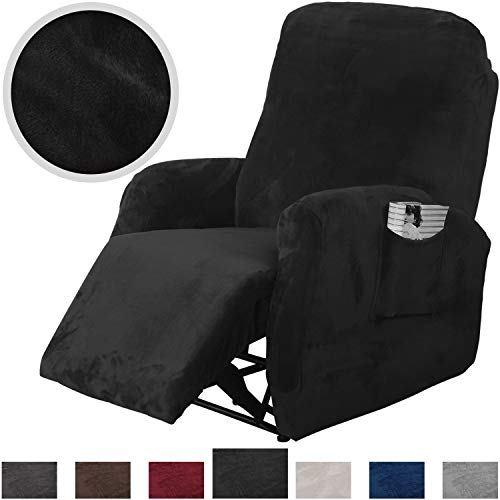 Rose Home Fashion RHF 4 Separate Piece Velvet Recliner Slipcovers, Recliner Chair Cover, Recliner Cover Furniture Protector Elastic Bottom, Recliner Slipcover with Side Pocket (Black-Recliner)