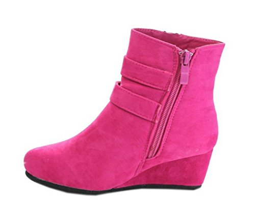 Women Wedge Fuchsia - Link Peggy-90K Children Girl's Wedge Heel Double Straps High Top Ankle Booties,Color:Fuchsia,Size:10