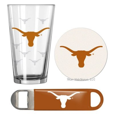 (NCAA Texas Pint Glass, Bottle Opener & Coasters Set | Texas Longhorns Game Day Gift Set)