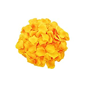 MXXGMYJ 1000pcs Yellow Rose Petals White Rose Wedding Bouquets Fake Rose Petals Dried Rose Wedding Bouquet Artificial Flowers Wedding Party Decoration Table Confetti 25