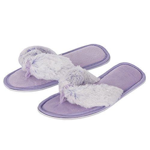 Forever Dreaming Womens Open Toe Memory Foam Faux Fur Indoor Flip Flop Thong Slippers 3-Pair Multibuy kGsXYQtZV