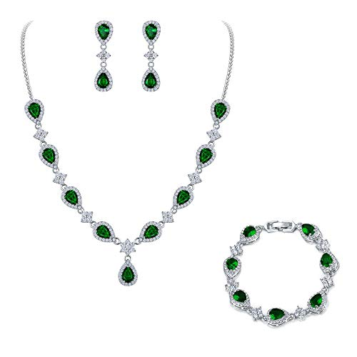 EleQueen Women's Silver-Tone Cubic Zirconia Teardrop Flower Bridal V-Necklace Set Tennis Bracelet Dangle Earrings Emerald Color