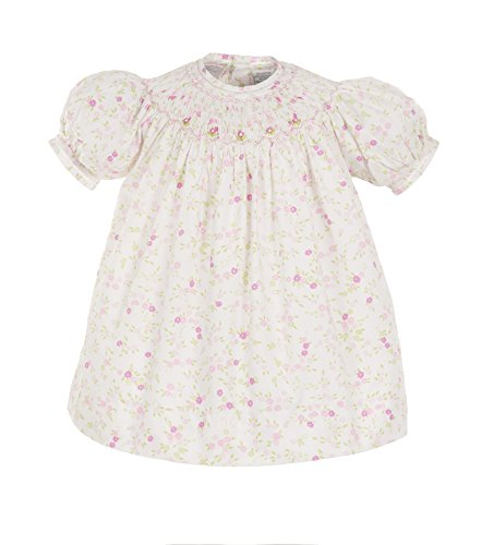 Carriage Boutique Baby Girl Hand Smocked Floral 3pc Bishop Dress (18 Months) White ()