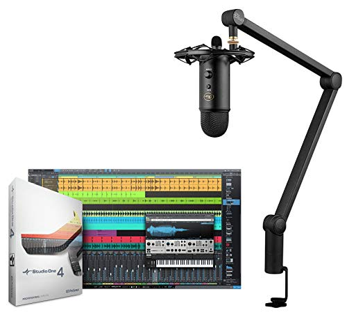 Presonus Studio One 4 Pro Recording Software+Blue Yeti Mic+ShockMount+Boom Arm ()
