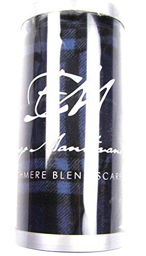 Enzo Mantovani Wool Cashmere Blend Scarf BLUE PLAID 12″ W x 62″ L