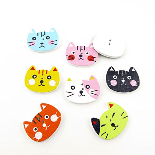 20x Arts Crafts Flatback Colorful Lovely Clothing Accessory Decoration Handmade Cute Multi Pattern Computer Painting Sewing Wood Buttons Supplies NK0102 Cat