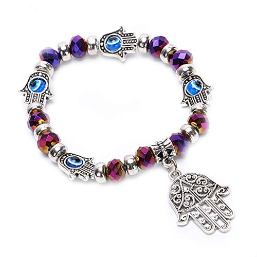 - Evil Eye Fatima Hand Rhinestone Bracelet Protection (Purple)