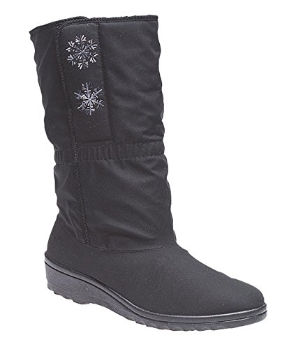 3 Shoes Black Mid Boots Womens Blizzard Calf Waterproof Thermal Ladies Size 8 Winter Lined Boots Warm wqfROaw