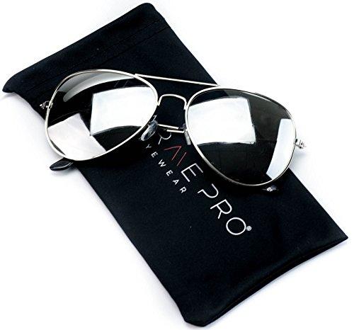 Aviator de Frame Silver gafas Silver Espejo sol metal Plateado Mirror Full Plateado Color Lens Espejo rqOxPrY