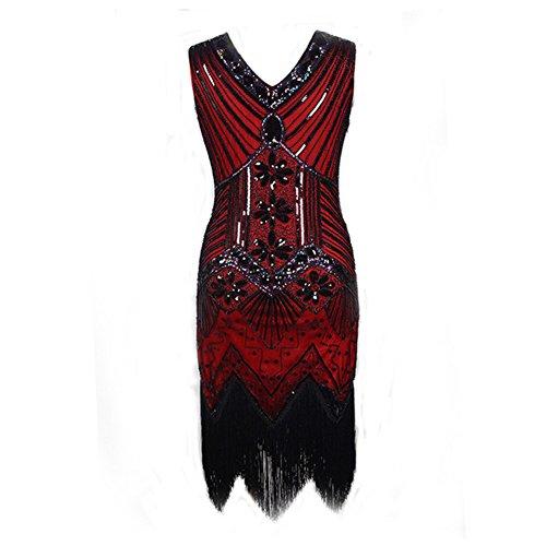 Deco Abito Scollo Rosso V A Gatsby Saomai Donne Perline Flapper Paillettes Vino Vestito Ispirato 1920 twqE8nnO