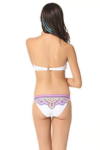 Polarfox Women's Printing Maximum Lift Push-UP Bikini Swimwear Large Purple