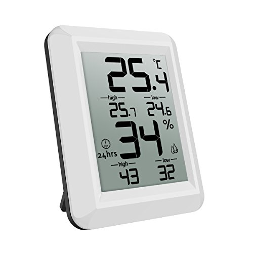 AMIR Indoor Hygrometer Thermometer, Digital Humidity Monitor, Temperature Gauge with LCD Display, With Standing Wall Hanging Humidity Meter for Greenhouse, Basement, Babyroom, etc (MINI) by AMIR