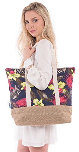 Beach Bag By Pier 17 - Best Tote Bag With Zipper And (Two Pocket Tote)
