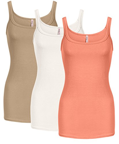 Tank Reg - Simlu Womens Basic Reg and Plus Size Tank Tops Soft Camisole - Made in USA 3 PK Taupe/White/Coral XX-Large