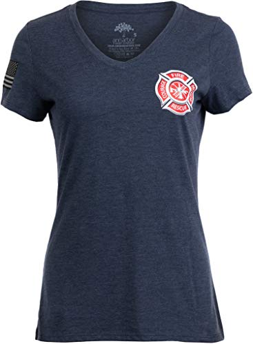 Firefighter Maltese Cross | Fire Fighter Rescue Courage Honor Women Top T-Shirt-(Navy,3XL)