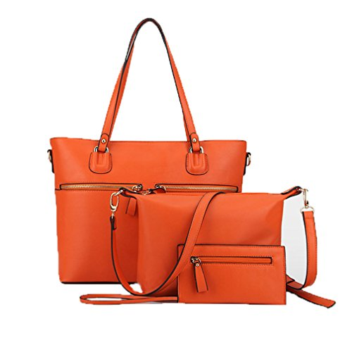 Zzfab 3 pcs Tote Bag Set Office tote bag-Orange ()