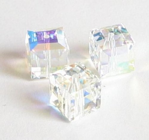 4 pcs Swarovski Crystal 5601 Cube Bead Spacer Clear AB 6mm / Findings / Crystallized (Coating 5601 Cube)