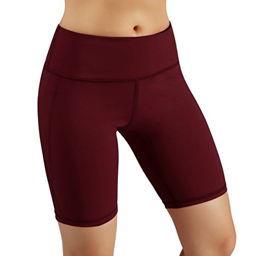 - ODODOS Power Flex Yoga Short Tummy Control Workout Running Athletic Non See-Through Yoga Shorts with Hidden Pocket,Wine,Small