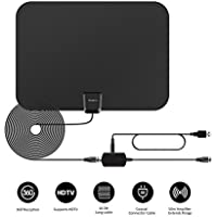 TEC.BEAN Indoor Amplified HD TV Antenna 50 Mile Range with Detachable Amplifier Signal Booster, USB Cable and 16.5FT High Performance Cable(Black)
