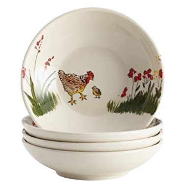 Paula Deen Signature Dinnerware Southern Rooster 4-Piece Stoneware Berry and Fruit Bowl Set
