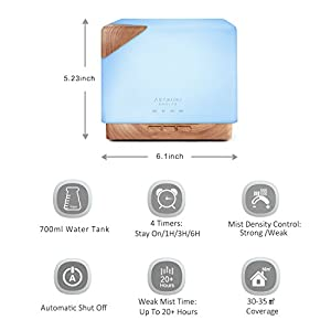 ASAKUKI 700ml Premium, Essential Oil Diffuser, 5 In 1 Ultrasonic Aromatherapy Fragrant Oil Vaporizer Humidifier, Timer and Auto-Off Safety Switch, 7 LED Light Colors