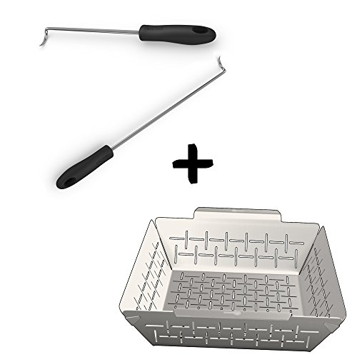 (Pigtail Food Flipper Hooks + Vegetable Grill Basket - DISHWASHER SAFE STAINLESS STEEL - Large Non Stick BBQ Grid Pan For Veggies Meat Fish & Fruit - Best Barbecue Wok Topper Accessories Gift for Dad)