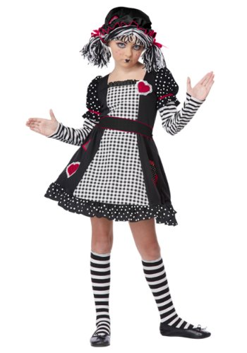 Rag Doll Striped Costumes (Rag Doll Child Costume - Large)