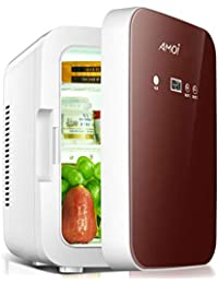 HM&DX Portable Mini Fridge Freezer Cooler Warmer 8 Cans Quiet Energy Efficient Compact Mini Refrigerator Car Dorm Room Office-Red Brown 8L
