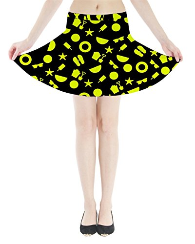 Cowcow Womens verano playa Seaside patrón Mini Flare falda Yellow and Black
