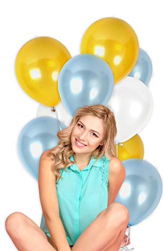 Pack of 100 White Gold and Blue 12 Inch Latex Premium Quality Balloons for Gender Reveal Party Supplies Boy Baby Shower Pearl Wedding Announcement Decorations ()