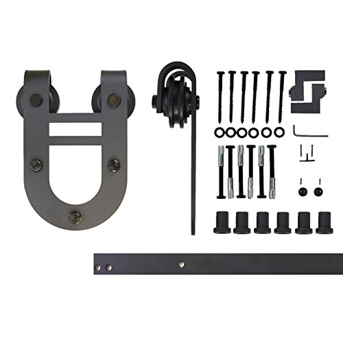 Vancleef 8FT Single Door Kit Sliding Barn Door Hardware, Horseshoe Design, Industrial Strength, Black Rustic, Interior and Exterior Use, With Quiet Glide Roller and Descriptive Installation Manual 8' Chrome Finish Adjustable Wrench