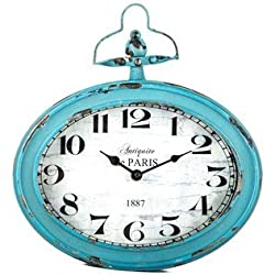 Antique Teal Oval Metal Wall Clock with Top Handle