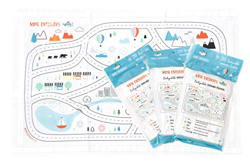 Disposable Placemats for Baby Toddlers Kids, Table Topper Disposable Placemats - Biodegradable BPA-Free Premium Super Sticky Stick-on Place Mats - Roadmap by Mini Explorers (60 Count) by Mini Explorers (Image #9)