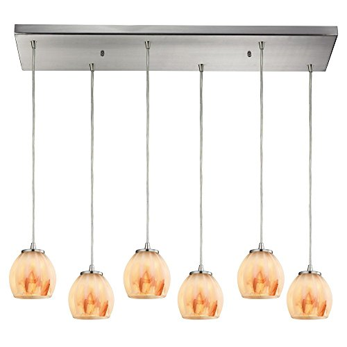 picture of Elk Lighting 10421/6RC-TS Melony - Six Light Pendant, Satin Nickel Finish with Frosted Glass